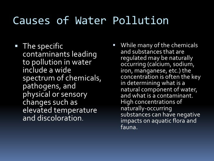 Causes of Water Pollution<br />The specific contaminants leading to pollution in water include a wide spectrum of chemical...