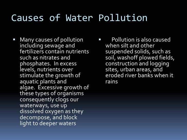 Causes of Water Pollution<br />Many causes of pollution including sewage and fertilizers contain nutrients such as nitrate...