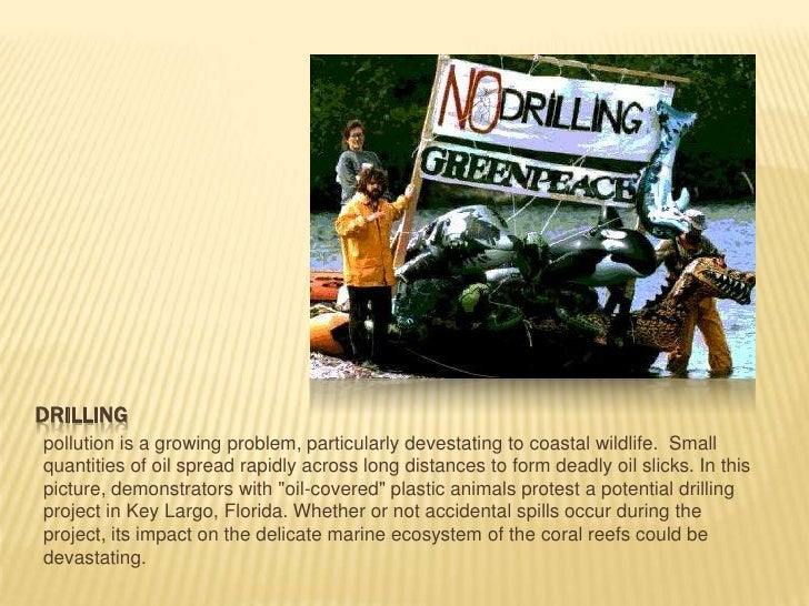 Drilling<br />pollution is a growing problem, particularly devestating to coastal wildlife. Small quantities of oil sprea...