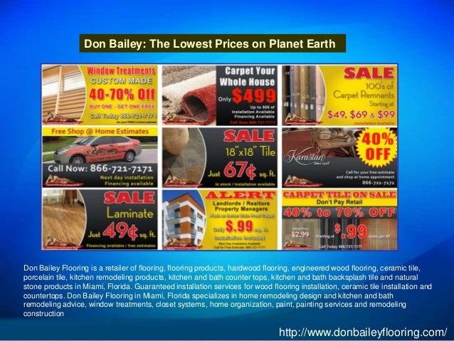 Don Bailey: The Lowest Prices On Planet Earth Don Bailey Flooring Is A  Retailer Of ...