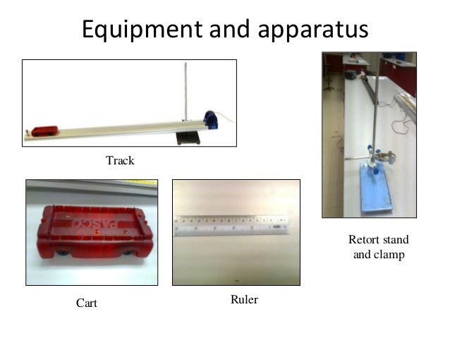 Equipment setup• The equipment is set up as shown in figure.• The height of the point of release of the cart from  table s...