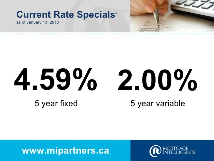 Current Rate Specials * as of January 13, 2010 www.mipartners.ca 4.59% 2.00% 5 year fixed 5 year variable