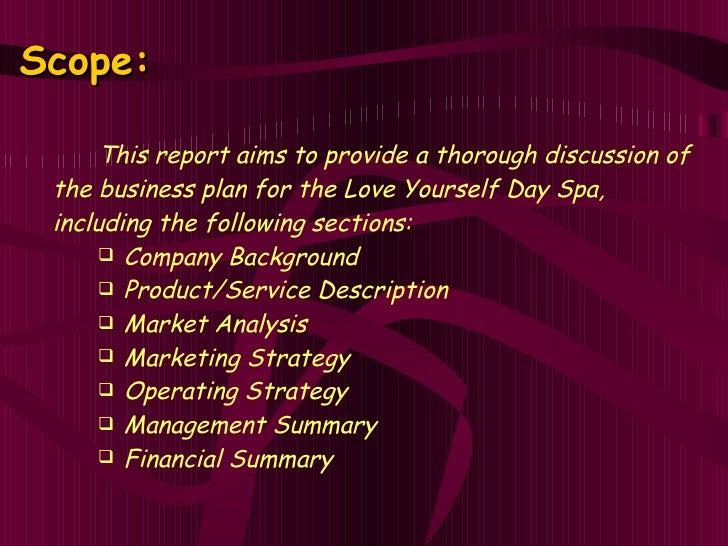 Love yourself day spa business plan for A business plan for a beauty salon