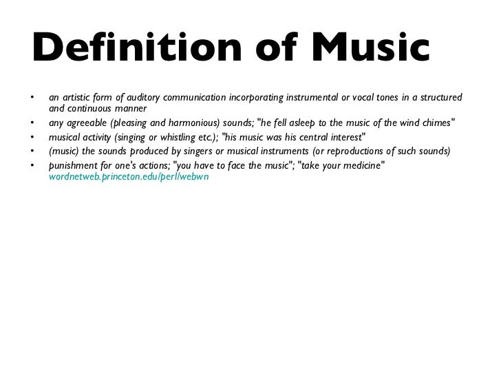 Power point presentation; music and me