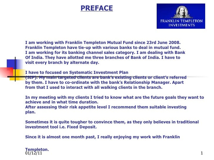 I am working with Franklin Templeton Mutual Fund since 23rd June 2008. Franklin Templeton have tie-up with various banks t...