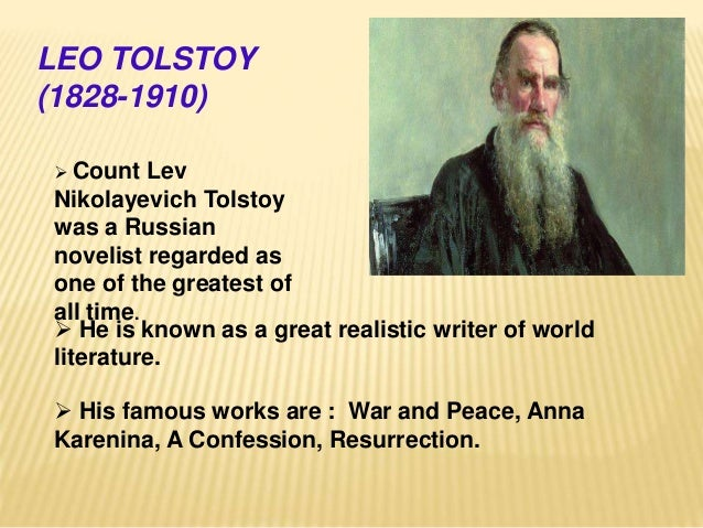 an analysis of tolstoys confessions Passage analysis (paper, delivered at the national convention for the teachers of english [ncte], november 28, 1969, washington, dc) bullshit and the art of crap -detection by neil postman.
