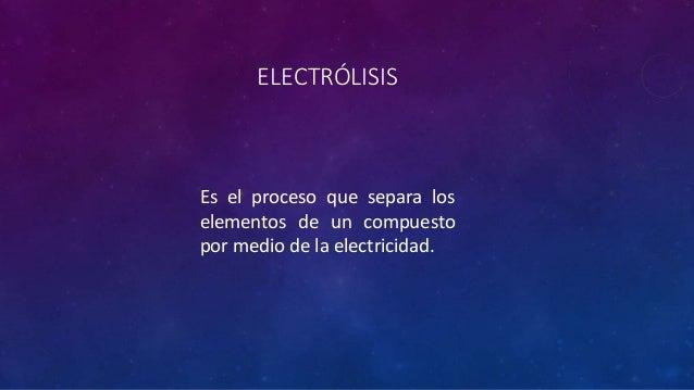 ELECTRÓLISIS Es el proceso que separa los elementos de un compuesto por medio de la electricidad.