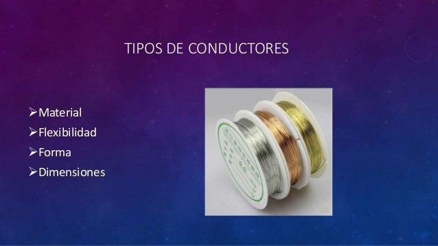 TIPOS DE CONDUCTORES Material Flexibilidad Forma Dimensiones