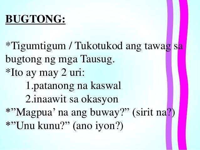 mga bugtong Bugtong 1 baboykosapulo, angbalahibo'ypako sagot: langka 2 isangbutilngpalay, sakotangbuongbuhay sagot: ilaw 3 ako ay may kaibigan, kasamakokah.