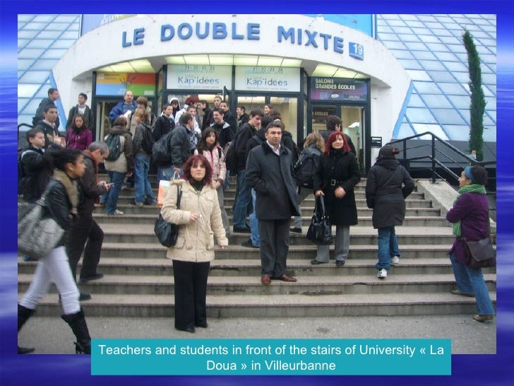 Teachers and students in front of the stairs of University « La Doua » in Villeurbanne