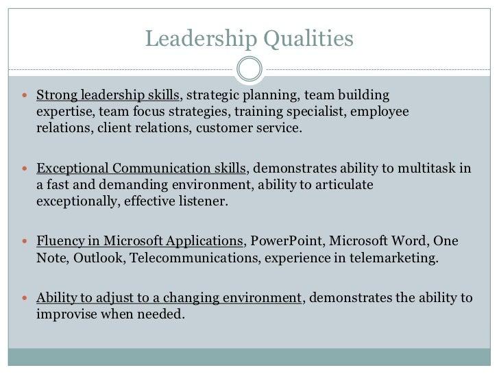 strong leadership skills resumes