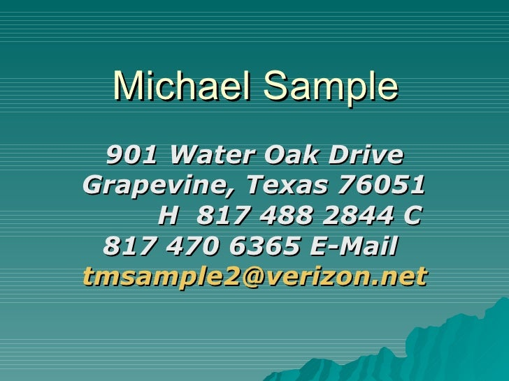 power point resume michael sample