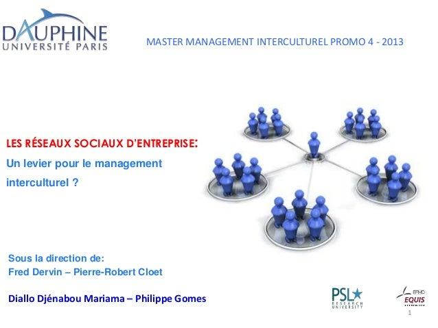 MASTER MANAGEMENT INTERCULTUREL PROMO 4 - 2013 LES RÉSEAUX SOCIAUX D'ENTREPRISE: Un levier pour le management interculture...