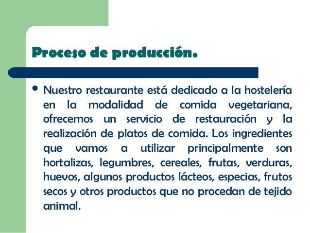 Power Point Rub N Y Vicente: proceso de produccion en un restaurante