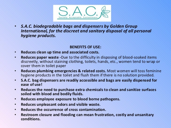 <ul><li>S.A.C. biodegradable bags and dispensers by Golden Group International, for the discreet and sanitary disposal of ...