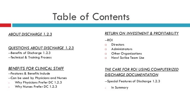 Power point sample presentation jan 2013 discharge 123 w table of con…