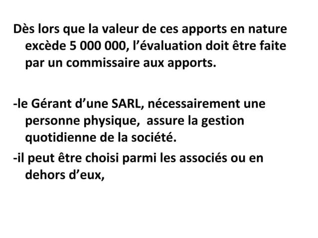 Dès lors que la valeur de ces apports en nature excède 5 000 000, l'évaluation doit être faite par un commissaire aux appo...