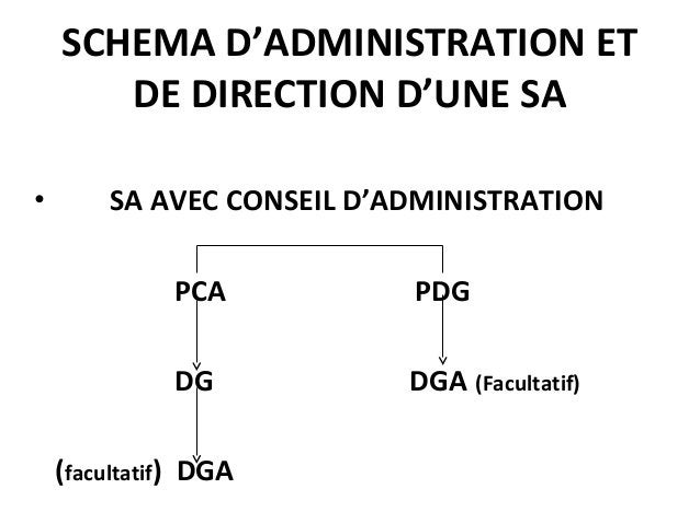 SCHEMA D'ADMINISTRATION ET DE DIRECTION D'UNE SA • SA AVEC CONSEIL D'ADMINISTRATION PCA PDG DG DGA (Facultatif) (facultati...