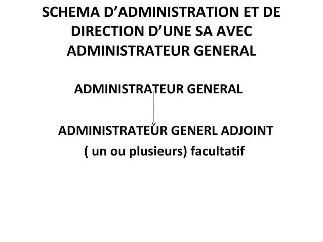 SCHEMA D'ADMINISTRATION ET DE DIRECTION D'UNE SA AVEC ADMINISTRATEUR GENERAL ADMINISTRATEUR GENERAL ADMINISTRATEUR GENERL ...