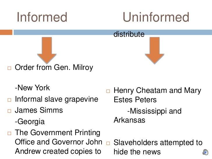 Informed                         Uninformed                                   distribute   Order from Gen. Milroy    -New...