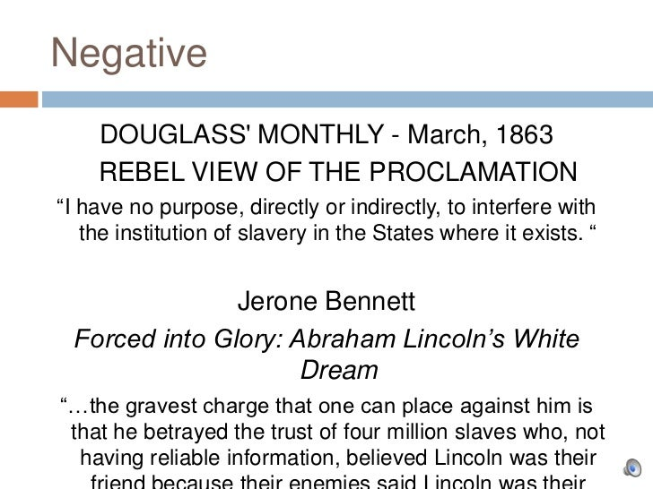 """Negative    DOUGLASS MONTHLY - March, 1863    REBEL VIEW OF THE PROCLAMATION""""I have no purpose, directly or indirectly, to..."""