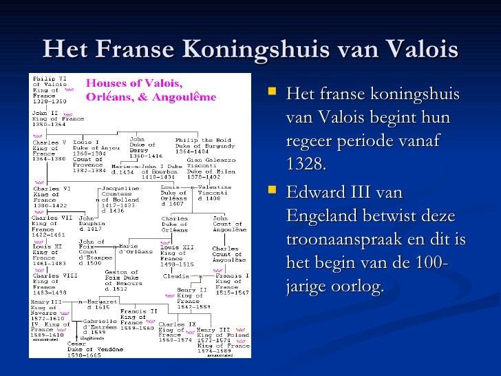 Het Franse Koningshuis van Valois <ul><li>Het franse koningshuis van Valois begint hun regeer periode vanaf 1328. </li></u...