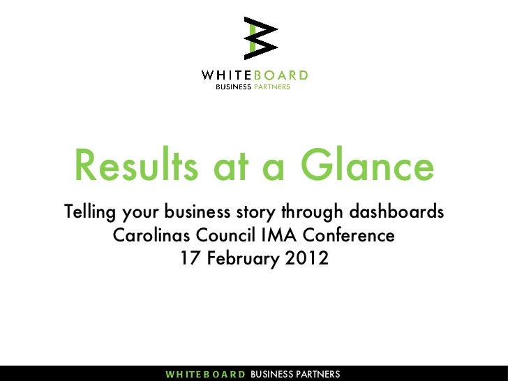 Results at a Glance <ul><li>Telling your business story through dashboards </li></ul><ul><li>Carolinas Council IMA Confere...