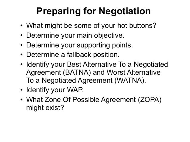 worst alternative to a negotiated agreement