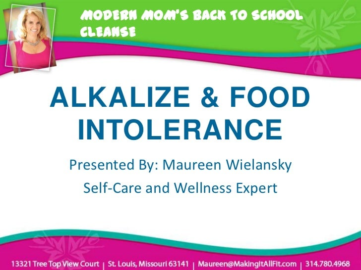 MODERN MOM'S BACK TO SCHOOL  CLEANSEALKALIZE & FOOD INTOLERANCE Presented By: Maureen Wielansky   Self-Care and Wellness E...