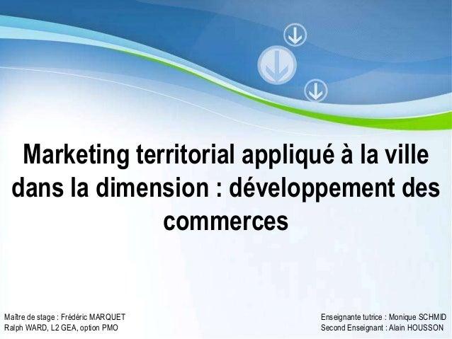 Marketing territorial appliqué à la ville dans la dimension : développement des               commercesMaître de stage : F...