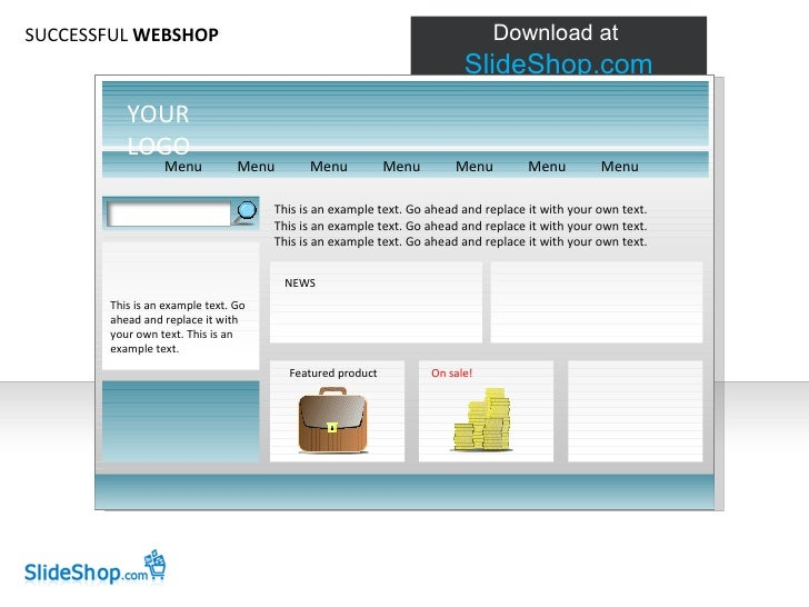 SUCCESSFUL  WEBSHOP This is an example text. Go ahead and replace it with your own text. This is an example text. Go ahead...