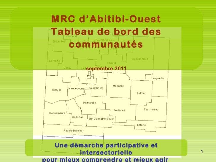 Tableau de bord des communautés - Abitibi-Ouest