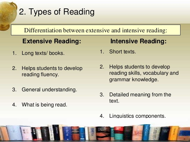 intensive and extensive reading Reading, despite being one of the four major skills of language learning, is one of the skills that is most often neglected by language learners.
