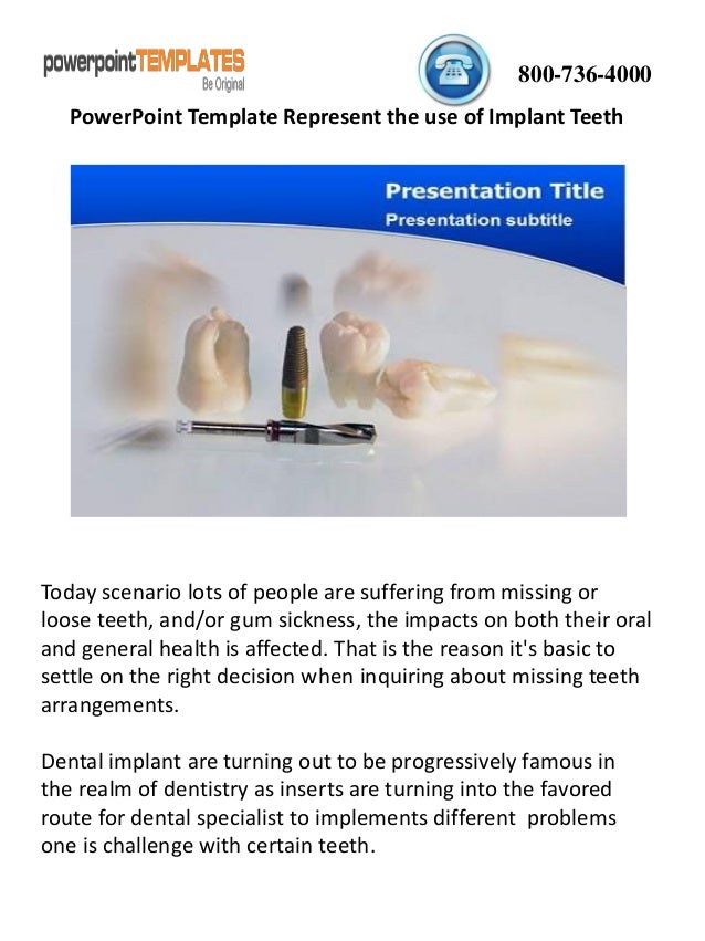 Powerpoint Template Represent The Use Of Implant Teeth