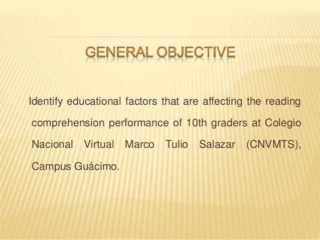 factors that affect thr reading performance of grade one Since it is impossible to examine all the factors affecting reading comprehension all at once, it is more reasonable to compare and contrast the predictive effects of specific variables against each other and elicit the role of each of them in determining academic performance.