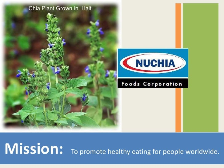 Chia Plant Grown in Haiti     Mission:           To promote healthy eating for people worldwide.