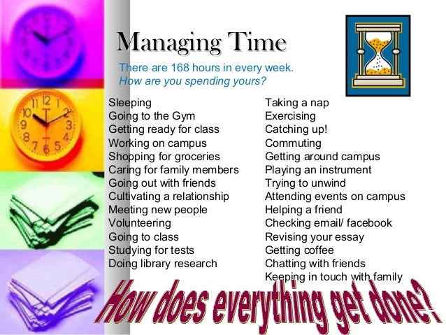 Managing TimeManaging TimeThere are 168 hours in every week.How are you spending yours?SleepingGoing to the GymGetting rea...