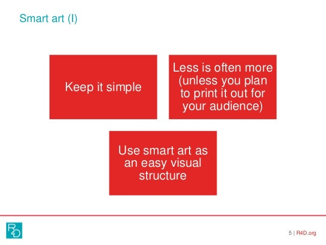 Smart art (I) 5   R4D.org Keep it simple Less is often more (unless you plan to print it out for your audience) Use smart ...