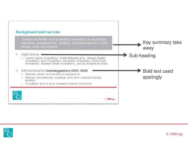 8   R4D.org Key summary take away Sub-heading Bold text used sparingly