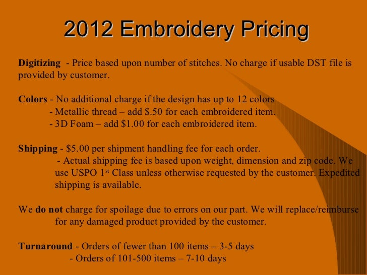 Totally Stitched Embroidery Our Services And Pricing