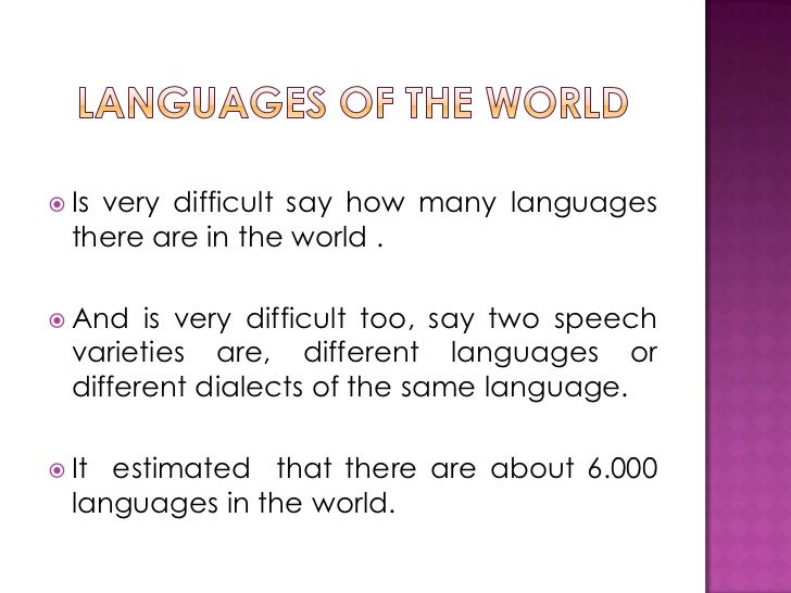 OTRO - How many types of languages are there in the world