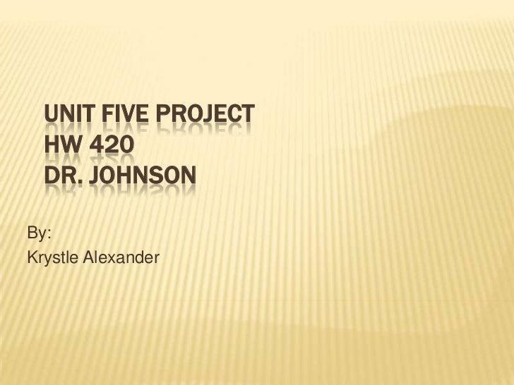 Unit Five ProjectHW 420Dr. Johnson<br />By: <br />Krystle Alexander<br />