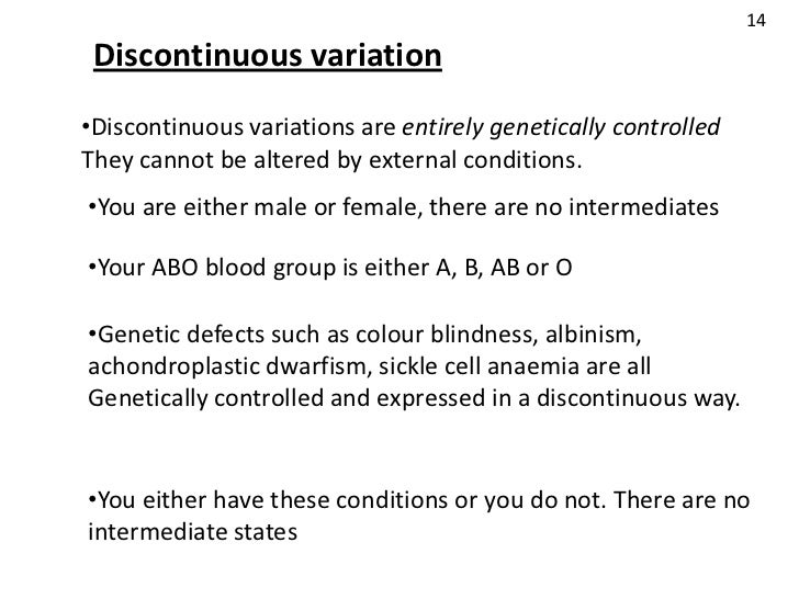 what does discontinuous variation mean