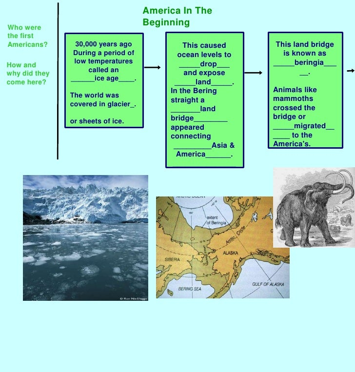 America In The Beginning<br />Who were the first Americans?<br />This land bridge is known as _____beringia_____.<br />Ani...