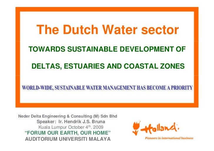 The Dutch Water sector    TOWARDS SUSTAINABLE DEVELOPMENT OF      DELTAS, ESTUARIES AND COASTAL ZONESNeder Delta Engineeri...