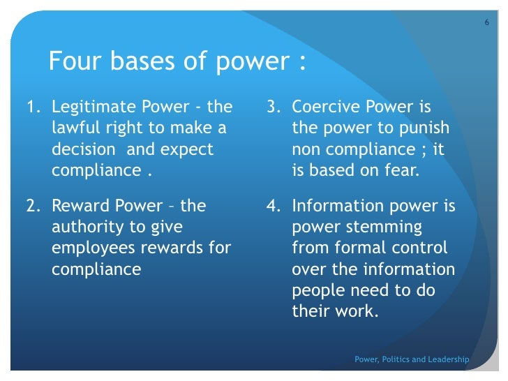 Power politics and leadership in the organization