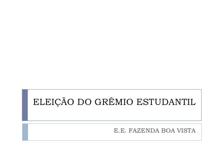 ELEIÇÃO DO GRÊMIO ESTUDANTIL<br />E.E. FAZENDA BOA VISTA<br />