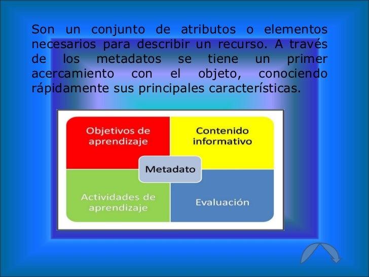 Son un conjunto de atributos o elementos necesarios para describir un recurso. A través de los metadatos se tiene un prime...