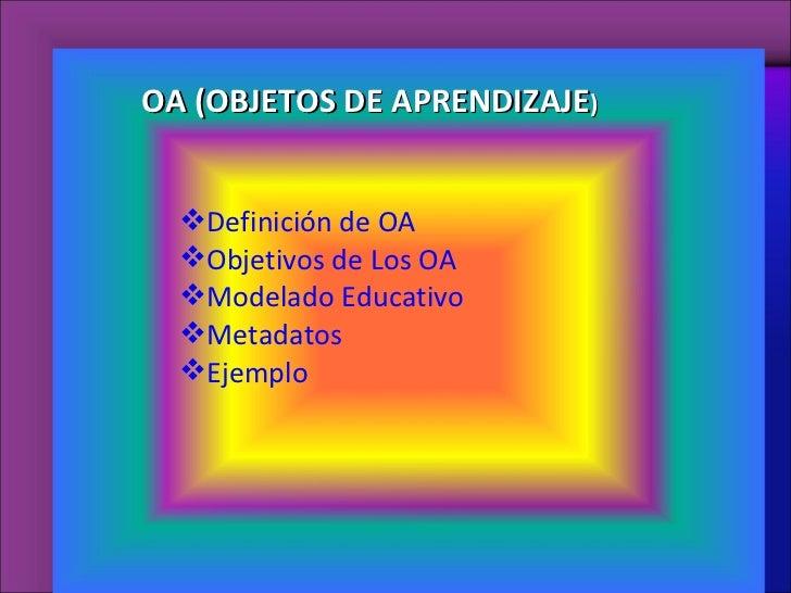 <ul><li>Definición de OA </li></ul><ul><li>Objetivos de Los OA </li></ul><ul><li>Modelado Educativo </li></ul><ul><li>Meta...