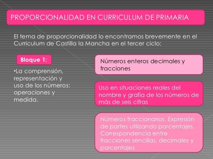 PROPORCIONALIDAD EN CURRICULUM DE PRIMARIA El tema de proporcionalidad lo encontramos brevemente en el Curriculum de Casti...